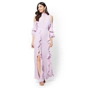 NY&Co Lavender Ruffle Cold-Shoulder Maxi Dress